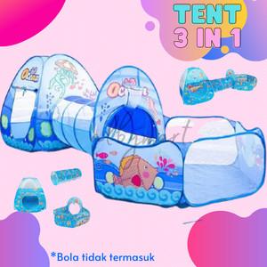 Harga mainan anak tenda terowongan kolam bola 3 in 1     HARGALOKA.COM
