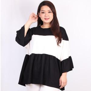Harga blouse bigsize wanita ld 140 fit to 5xl xxxxxl two tone vanya stayl   | HARGALOKA.COM