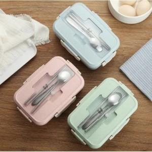 Harga kotak tempat makan new lunch box bpa free free sendok sumpit   | HARGALOKA.COM