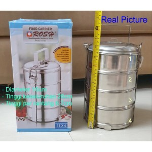 Harga food carrier rosh rantang stainless steel 4 susun diameter | HARGALOKA.COM