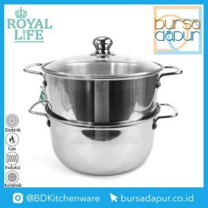 Harga royal life stainless steamer set 24 cm x 2 susun kukusan langseng   | HARGALOKA.COM