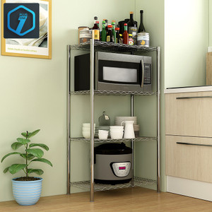 Harga rak penyimpanan 4 tingkat hitam abu abu rak dapur rak serbaguna  1002     HARGALOKA.COM