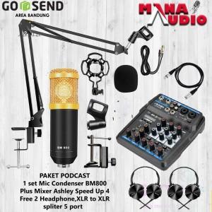 Harga paket podcasting 1 set microphone bm800 plus mixer ashley speed up | HARGALOKA.COM