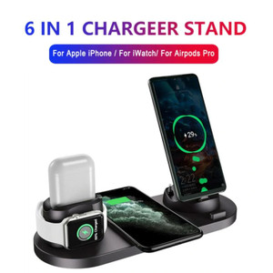 Harga charging dock 6 in 1 wireless charger stand iphone hp apple watch 4 5   tanpa adaptor | HARGALOKA.COM