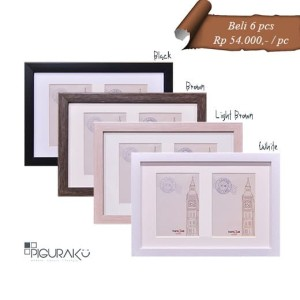 Harga pigura bingkai foto minimalis   4r x 2 pcs plus matboard   | HARGALOKA.COM