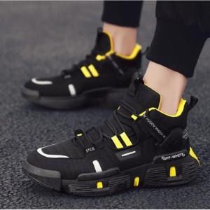 Harga sepatu sneakers pria import hugov   hitam kuning | HARGALOKA.COM