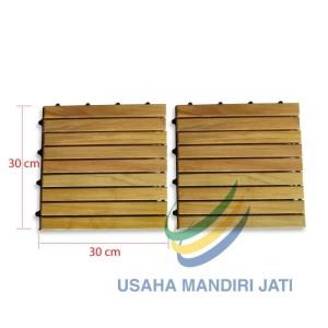Harga decking tile lantai kayu jati flooring ukuran 30 x 30 cm   model | HARGALOKA.COM