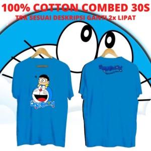Harga kaos keren cowok doraemon amp nobita blue kaos anime kartun | HARGALOKA.COM