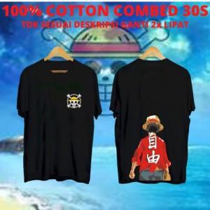 Harga kaos keren cowok one piece tampak belakang black tshirt | HARGALOKA.COM