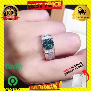 Harga cincin perak batu pria wanita zamrud hijau mata berlian premium | HARGALOKA.COM