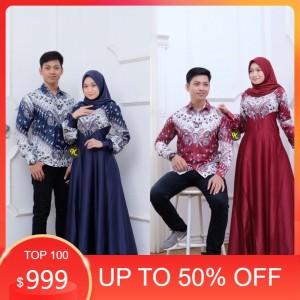 Harga batik couple pasangan keluarga kebaya gamis   navy | HARGALOKA.COM