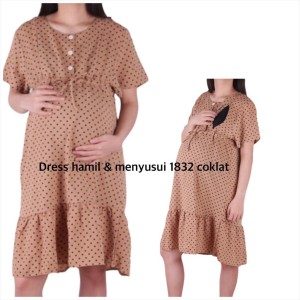 Harga baju hamil dress 1832   coklat | HARGALOKA.COM