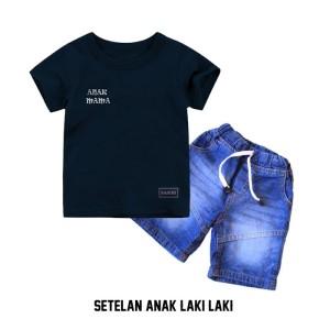 Harga setelan pakaian anak laki laki kaos anak laki2 amp celana jeans pendek   2 | HARGALOKA.COM