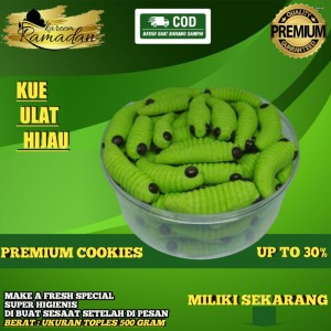 Harga kue kering ulat hijau special lebaran ramadhan hari raya premium   250 | HARGALOKA.COM