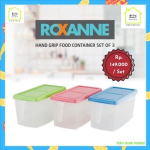 Harga roxanne food container set 3pcs with hand grip kulkas | HARGALOKA.COM