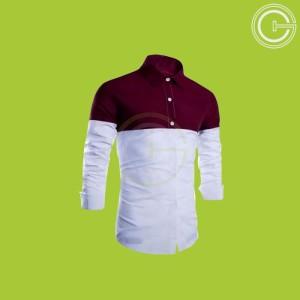 Harga kemeja pria casual formal hem pria putih block top marun cw 61   | HARGALOKA.COM