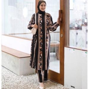Harga frida set tunik setelan wanita motif floral pakaian wanita baju tunik   hitam | HARGALOKA.COM